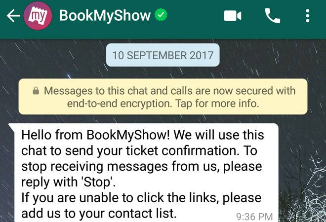 bookmyshow whatsapp