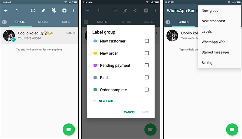 whatsapp business labeling