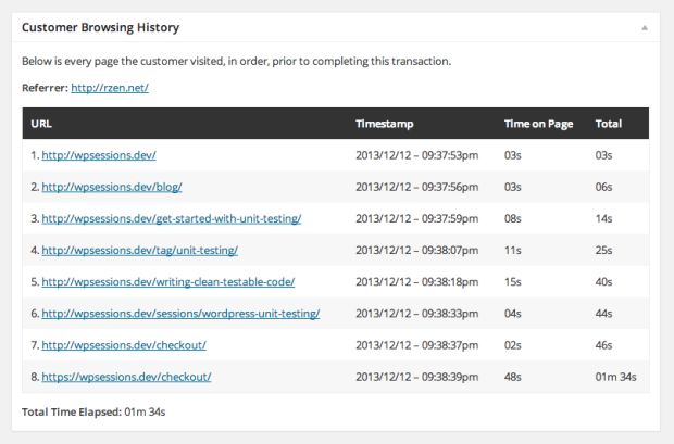 woocommerce customer history browsing